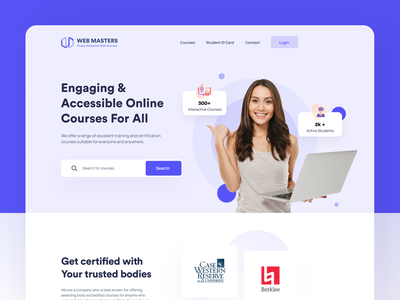 E-Learning Landing Page instructor elegant ecommerce pretty lady certified online course engaging accessible colorful website colorful education website mobile app landing page web minimal web minimal course online education e-learning