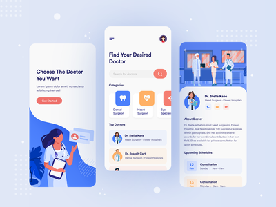 Doctor Consultation App doctor appointment doctor app minimal design user experience user interface health care consultation 2020 trend ios medical dental care dental app design uidesign colors illustration doctor uiux ui app