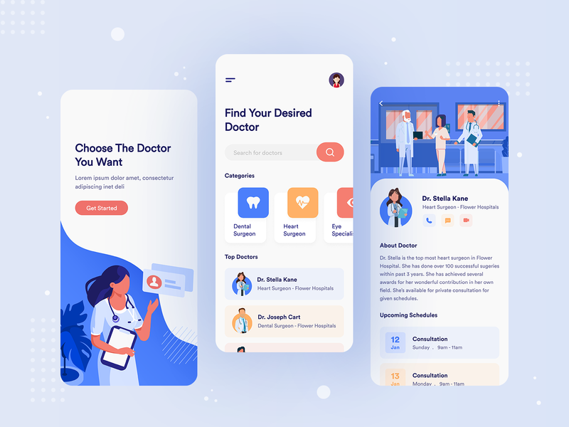 Doctor Consultation App doctor profile minimal design user experience user interface health care consultation 2020 trend 2019 trend ios medical dental care dental app design uidesign colors illustration doctor uiux ui app