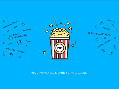 Popcorn blah fight blue mad grabs popcorn argue noise argument popcorn