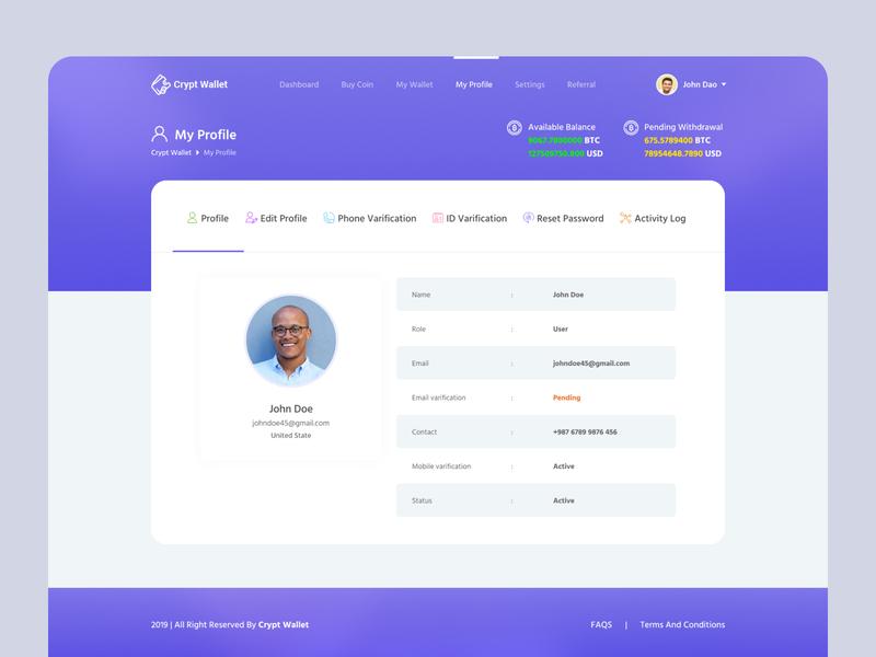 Profile Page - Crypto Wallet