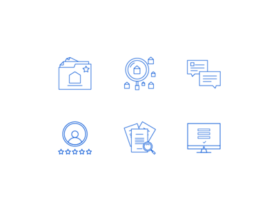 Tenants and landlords icon set