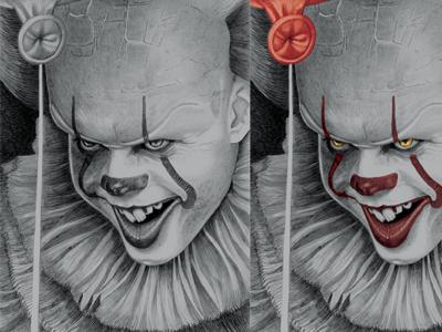 Pennywise Pencil Illustration & Photoshop WIP. horror horror genre pennywise horror art illustration detail fine art pencil pencil portrait photoshop image manipulation