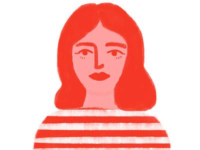 la vie en rouge woman brushes digital illustration stripes monochromatic red illustration