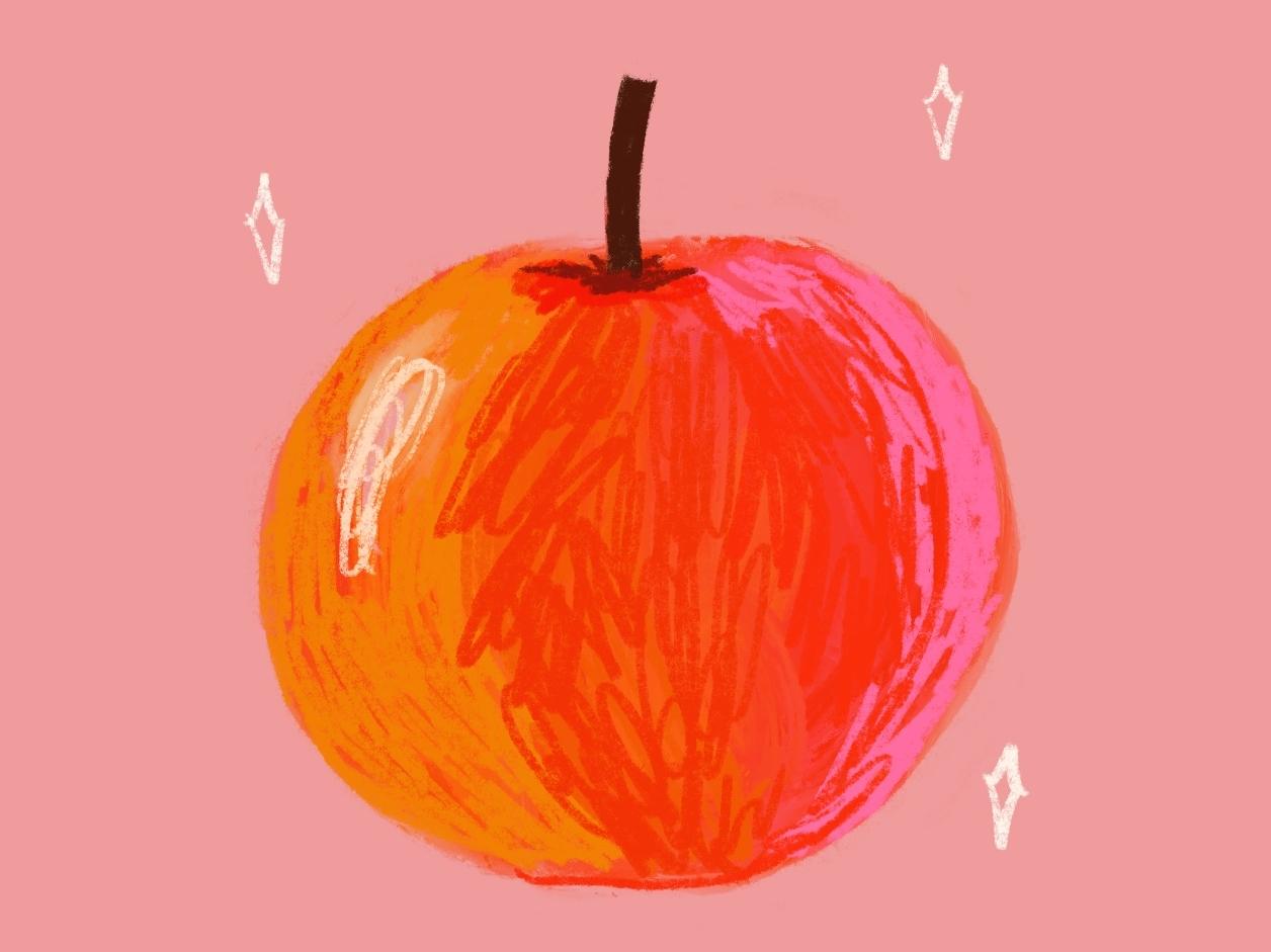 For Pete's Sake, Eat an Apple women illustrators procreate texture colors fun healthy health apple experiment bold digital illustration illustration