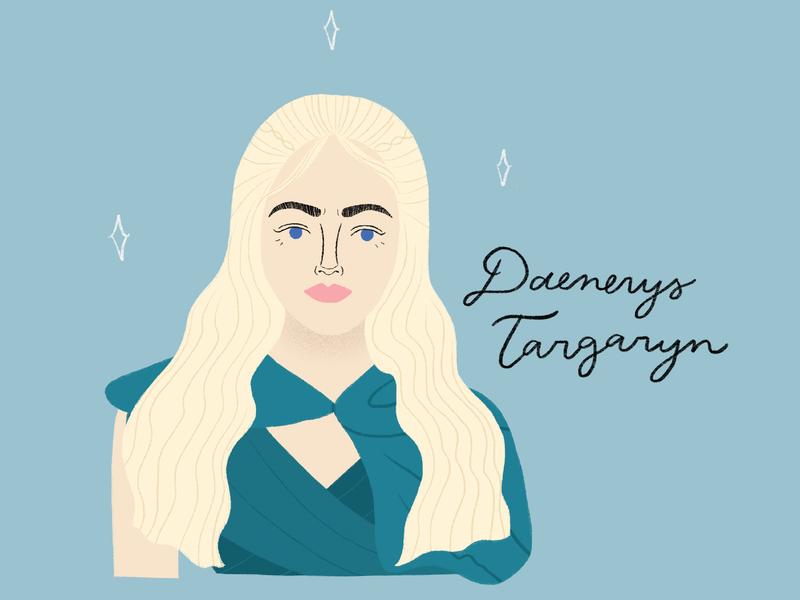 Daenerys Targaryn portraits game of thrones feminisim strong females illustration hand lettering print design digital illustration