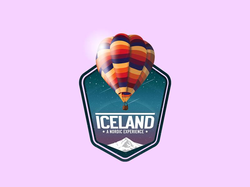 Iceland A Nordic Experience logo identity branding badge icon logo design logotype design badge design iceland vector gradient illustration brand identity logo mark