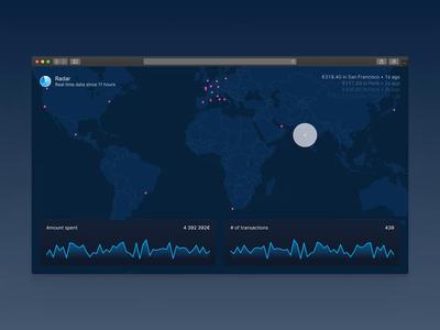 Spendesk Radar: Realtime map of transactions stats money bank user inteface banking ui dark ui datavisualization dataviz data interface maps