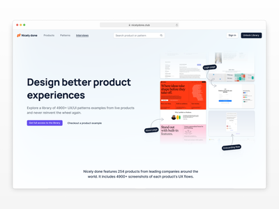 🍭 Nicelydone update app user interface library inspiration homepage interface pattern a day patterns ux patterns ui landing page