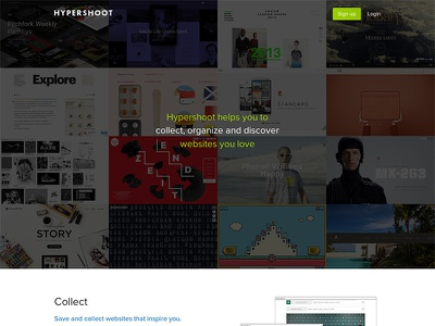 Hypershoot website landing page product app web inspiration collect bookmark