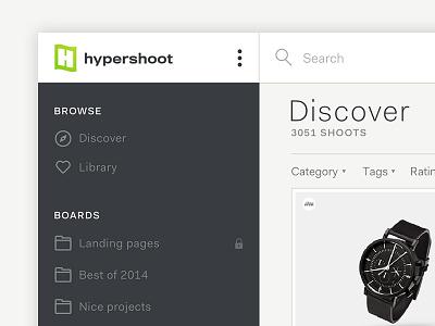 Hypershoot sneak peek web app screenshot interface ui