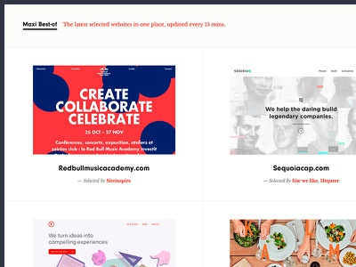 Chrome extension : Maxi Best-of chrome extension webdesign awards inspiration ui gallery grid