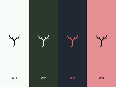 Personal Branding Colour Evolution timeline logo design personal branding deer stag antlers evolution development clean colours minimal icon brand logo branding design jrdickie