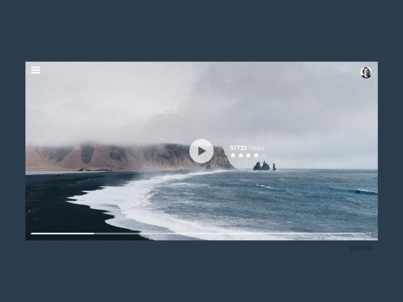 DailyUI #057 Video Player clean user interface challenge web app progress bar button icon video website video player dailyui 057 057 dailyui uidesign sketchapp ui minimal design jrdickie