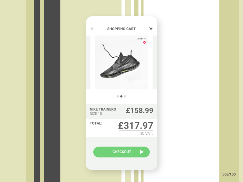 DailyUI #058 Shopping Cart ui dailyui 058 shopping icons e-commerce shop 058 design cart nike trainer mobile jrdickie dailyuichallenge app website shopping cart dailyui058 dailyui