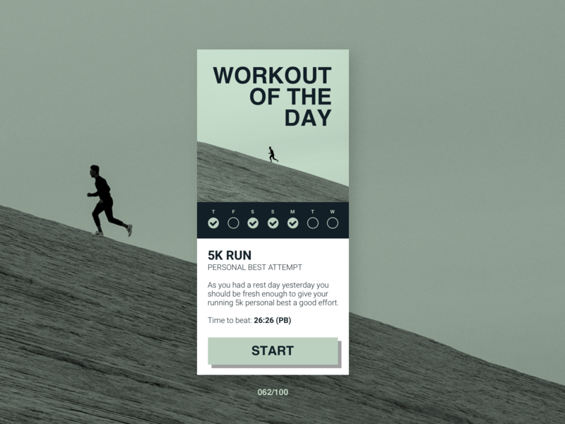 DailyUI #062 Workout of the day uidesignchallenge minimal clean workout of the day workout uidesigner button weekly sketchapp running dailyui062 dailyui fitness web app sketch uidesign ui design jrdickie