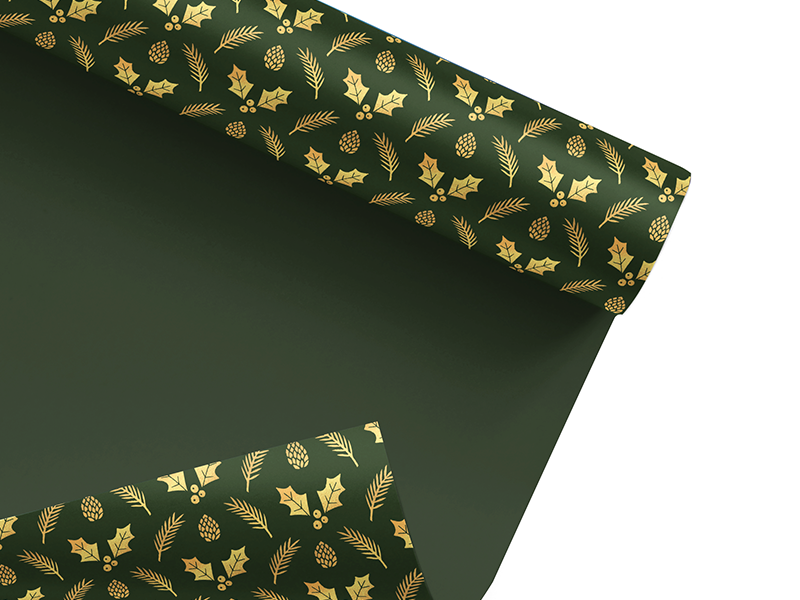Green & Gold Christmas Wrapping Paper typehue wrap up jrdickie nature acorn holly festive pattern xmas christmas