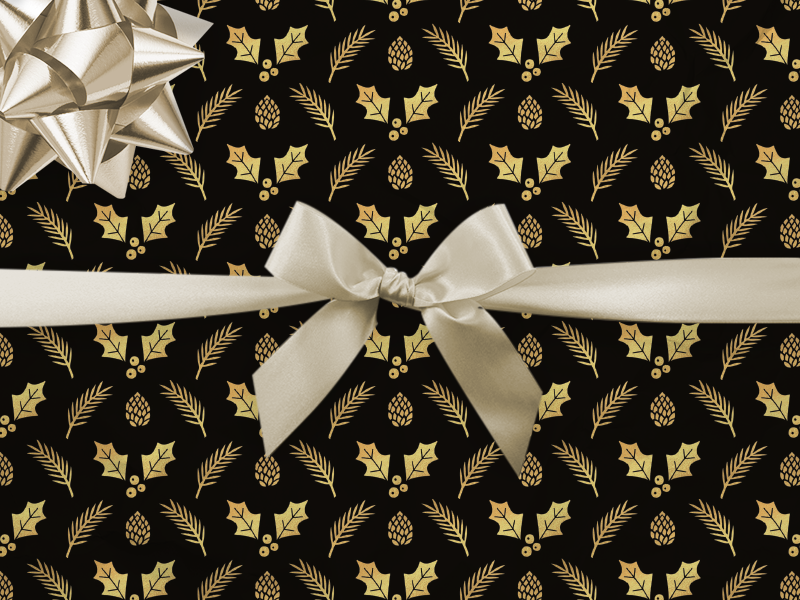 Black & Gold Wrapping Paper seasonal pattern leaves nature winter festive gold xmas christmas