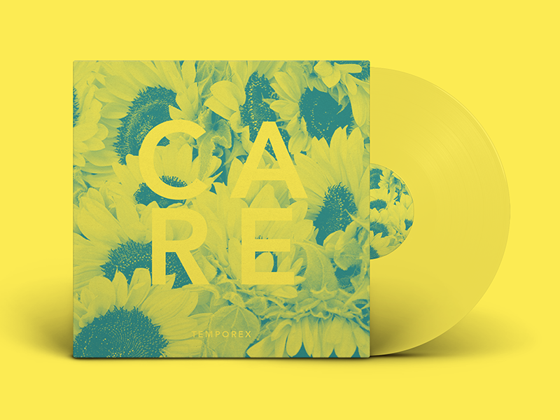 Care By TEMPOREX - Vinyl typehue tempered sunflower vinyl music jrdickie flower duotone challenge care album artwork