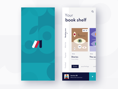 Book app concept flat  design interface design minimalistic typogaphy habits library fresh design blue ui concept reading app books reading mobile app