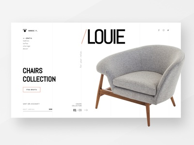 Furniture store concept chair design furniture store minimalistic design ui concept interface design