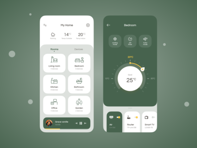 Smart home concept app ui concept interface design minimalistic modern colorful player conditioner air music realestate rooms temperature green ui home monitoring dashboard smarthome