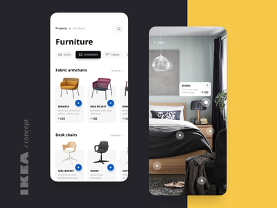 IKEA UI concept yellow mobile app ios furniture app furniture store lights lamp renovation rooms interface design chairs ikea armchair furniture ecommerce ui concept app