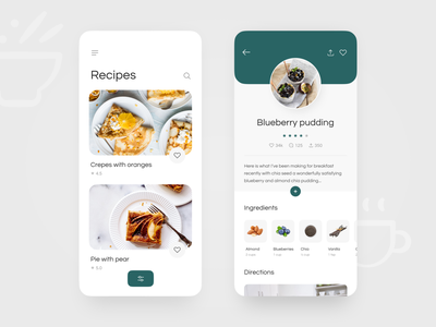 Recipes App UI concept dishes delivery food app pie crepes blueberry blue green fruit recipe food