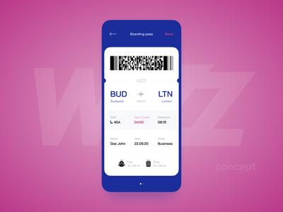 Boarding pass trip travelling travel baggage seats arrive departure barcode wizzair pink blue aircraft airline airport airplane plane ticket boarding pass