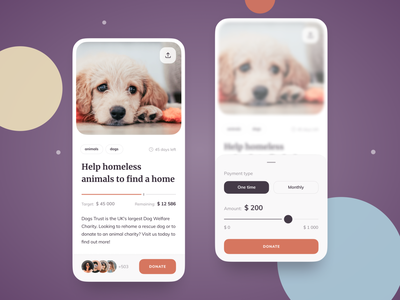 Crowdfunding platform concept charity bright animals slider filters donation pet dog crowdfunding