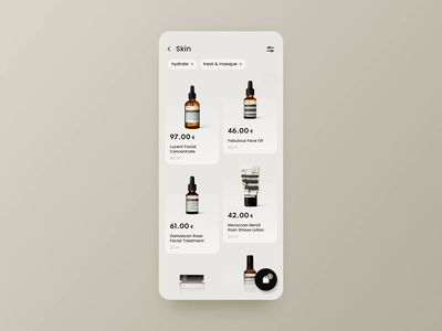 E-commerce platform for skincare products | Concept ecommerce interaction design interraction minimalistic design aesop skincare cosmetics shopping basket bag adding to cart cart interface design