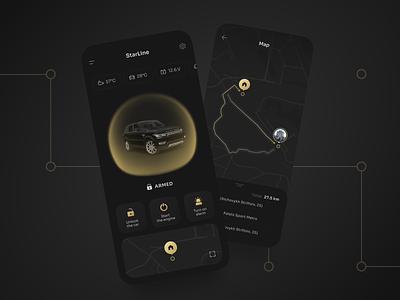 Car Security App | UI concept alarm protect dark mode futuristic ui ui concept flat  design yellow black route security car interface design