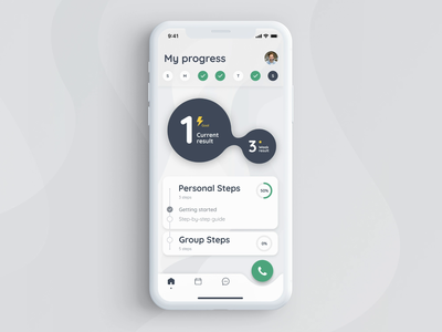 Learning progress for educational app progress indicator calendar design floating button futuristic icon ux typography ui design app education app home page mobile ios interaction animation animation
