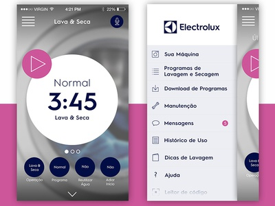 Electrolux app - home and menu