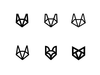 fox heads logo fox minimal