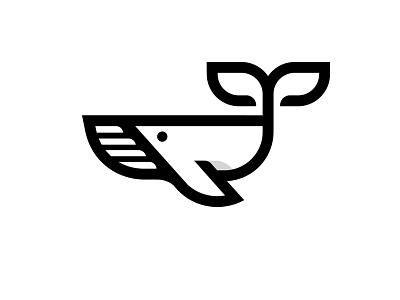 whale fish whale mark minimal logo