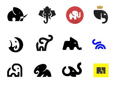 Elephant Logos negative space collection elephant minimal logo