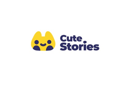 Cute Stories human head smile cute cat kids bookstore book story conversation talk chat happy branding logo