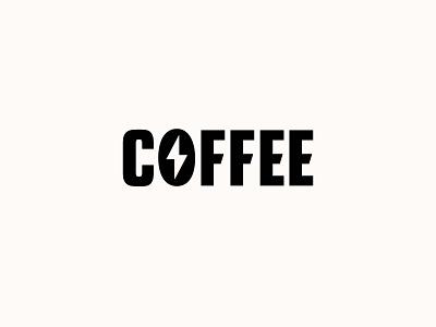 Coffee! lighting bolt power cafe coffee logo