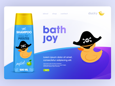 Ducky ilustration logo shampoo duck webdesign landingpage web