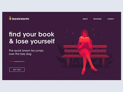 Bookworm Home read minimal illustration design home page website app bookstore book logo