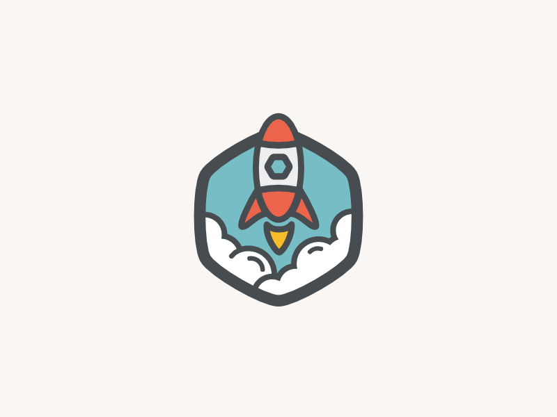 Rocket Badge branding space illustration launch vector flat logo icon badge rocket