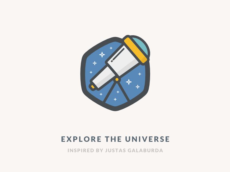 Explore The Universe Icon illustration universe galaxy stars space telescope flat logo icon