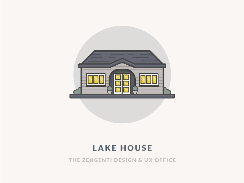 The Lake House outdoors nature window hut lodge night cabin vector illustration office icon building