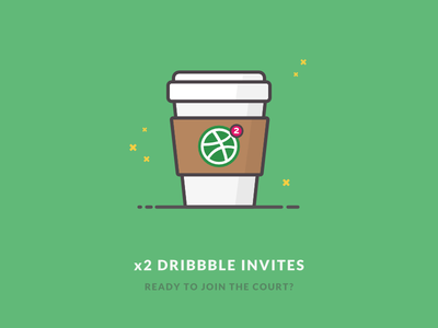 x2 Dribbble invites giveaway icon illustration starbucks cup coffee join player dribbble prospect invitation invite