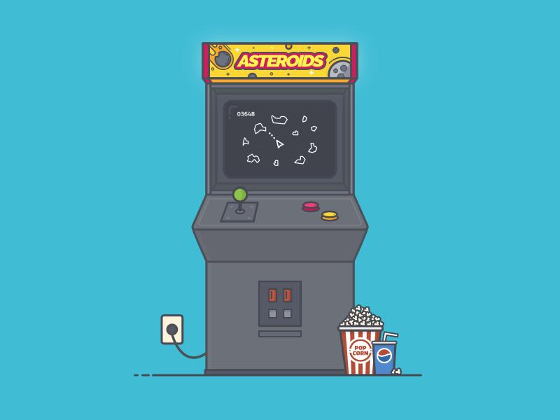 Asteroids Retro Arcade Machine video game arcade machine game space video flat illustration soda popcorn arcade retro asteroids