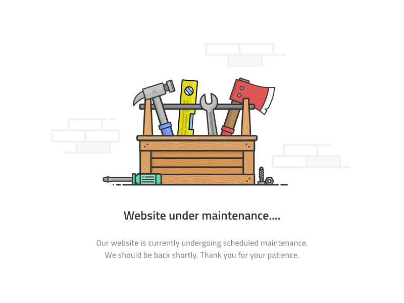Under Maintenance Page nuts and bolts icon screwdriver hammer wrench axe tools toolbox page 404 maintenance website
