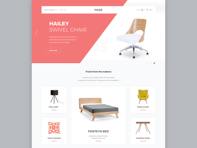Made.com - Furniture website made shop store site bed lamp ecommerce chair furniture landing product website
