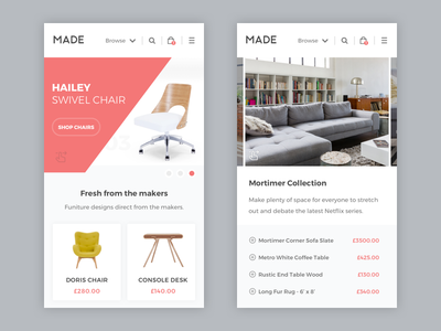 Made.com - Mobile website rwd responsive mobile store site shop product made landing furniture ecommerce table