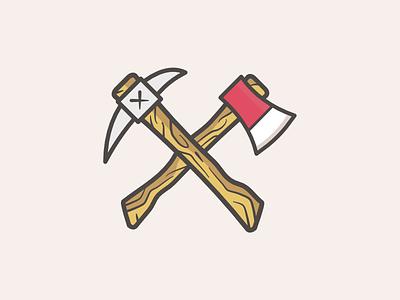 Pick & Axe vector wood flat illustration nature icon logo tools pick axe pickaxe